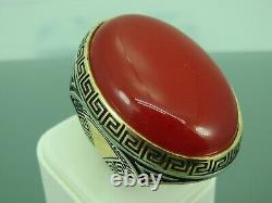Turkish Handmade Jewelry 925 Sterling Silver Agate Stone Men's Ring Sz 11
