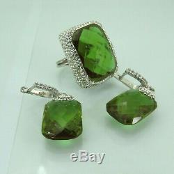Turkish Handmade Jewelry 925 Sterling Silver Alexandrite Women Earring Set