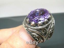 Turkish Handmade Jewelry 925 Sterling Silver Amethyst Stone Men Ring Sz 10