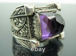 Turkish Handmade Jewelry 925 Sterling Silver Amethyst Stone Men Ring Sz 11