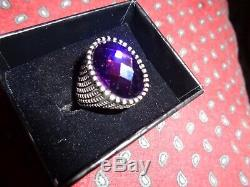 Turkish Handmade Jewelry 925 Sterling Silver Amethyst Stone Men's Ring Sz 10NICE
