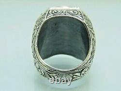 Turkish Handmade Jewelry 925 Sterling Silver Aquamarine Stone Men Ring Sz 11