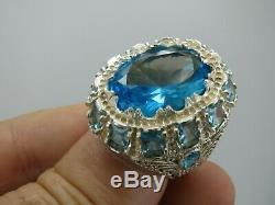 Turkish Handmade Jewelry 925 Sterling Silver Aquamarine Stone Men Ring Sz 9