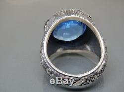 Turkish Handmade Jewelry 925 Sterling Silver Aquamarine Stone Men's Ring Sz 11