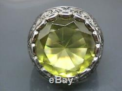 Turkish Handmade Jewelry 925 Sterling Silver Citrine Stone Men Ring Sz 10