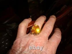 Turkish Handmade Jewelry 925 Sterling Silver Citrine Stone Men's Ring Sz 10