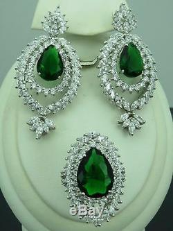 Turkish Handmade Jewelry 925 Sterling Silver Emerald Stone Ladies' Earring Set
