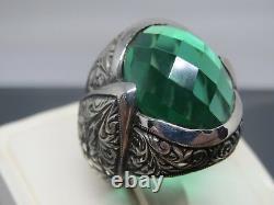 Turkish Handmade Jewelry 925 Sterling Silver Emerald Stone Men Ring Sz 10