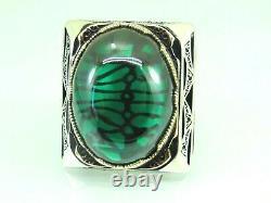 Turkish Handmade Jewelry 925 Sterling Silver Emerald Stone Men Ring Sz 11