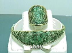 Turkish Handmade Jewelry 925 Sterling Silver Emerald Stone Women Bangle&Ring Set