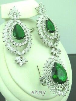 Turkish Handmade Jewelry 925 Sterling Silver Emerald Stone Women Earring Set