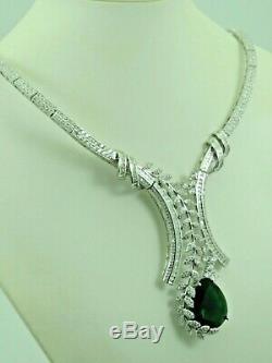 Turkish Handmade Jewelry 925 Sterling Silver Emerald Stone Women Necklace