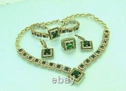 Turkish Handmade Jewelry 925 Sterling Silver Emerald Stone Women Necklace Set