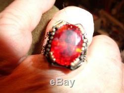 Turkish Handmade Jewelry 925 Sterling Silver Garnet Stone Men's Ring Sz 10-stunn
