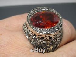 Turkish Handmade Jewelry 925 Sterling Silver Garnet Stone Men's Ring Sz 11