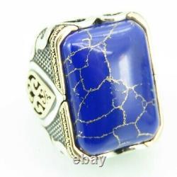 Turkish Handmade Jewelry 925 Sterling Silver Lapis Stone Men Ring Sz 12