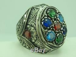 Turkish Handmade Jewelry 925 Sterling Silver Multi Stone Men Ring Sz 11