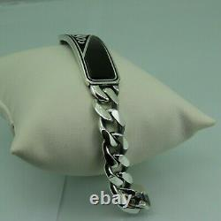 Turkish Handmade Jewelry 925 Sterling Silver Onyx Stone Men Bracelet