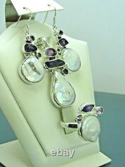 Turkish Handmade Jewelry 925 Sterling Silver Pearl Stone Women Earring Set
