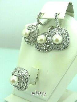 Turkish Handmade Jewelry 925 Sterling Silver Pearl Stone Women Earring Set