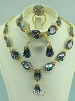 Turkish Handmade Jewelry 925 Sterling Silver Rainbow Stone Women Necklace Set
