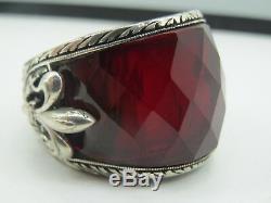 Turkish Handmade Jewelry 925 Sterling Silver Ruby Stone Men Ring Sz 11