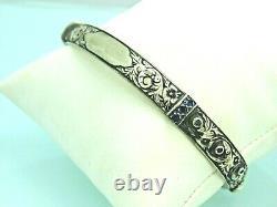 Turkish Handmade Jewelry 925 Sterling Silver Sapphire Stone Men Bangle