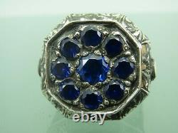 Turkish Handmade Jewelry 925 Sterling Silver Sapphire Stone Men Ring All sz