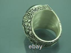 Turkish Handmade Jewelry 925 Sterling Silver Sapphire Stone Men Ring Sz 11