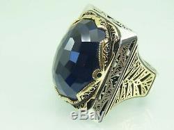 Turkish Handmade Jewelry 925 Sterling Silver Sapphire Stone Men's Ring Sz 11