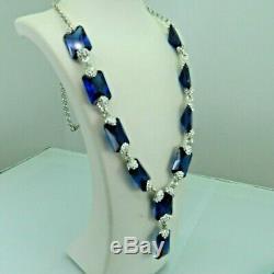 Turkish Handmade Jewelry 925 Sterling Silver Sapphire Stone Women Necklace