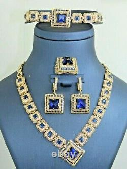 Turkish Handmade Jewelry 925 Sterling Silver Sapphire Stone Women Necklace Set