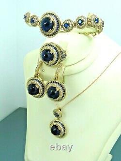 Turkish Handmade Jewelry 925 Sterling Silver Sapphire Stone Women Set