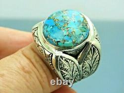 Turkish Handmade Jewelry 925 Sterling Silver Turquoise Stone Men Ring Sz 11