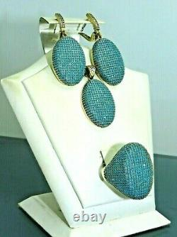 Turkish Handmade Jewelry 925 Sterling Silver Turquoise Stone Women Earring Set