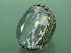 Turkish Handmade Jewelry 925 Sterling Silver Zircon Stone Men Ring All size