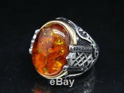 Turkish Jewelry 925 Sterling Silver Amber Stone Men's Ring Sz 9 free resize