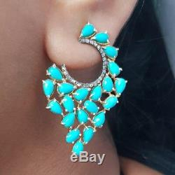 Turquoise Gemstone 925 Silver Stud Earrings 14K Gold Diamond Pave Gift Jewelry