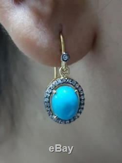Turquoise Gemstone Diamond Pave 925 Silver Dangle Earrings 14K Gold Gift Jewelry