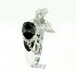 Unique Two tone Lady Panther 925 Sterling Silver wedding Engagement Ring Gift