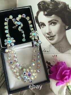 VINTAGE 1950s DOUBLE STRAND AURORA BOREALIS RHINESTONE SWAG NECKLACE BRIDAL GIFT