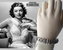 VINTAGE SPHINX 1950s ART DECO SILVER MARCASITE BRACELET SIGNED GATSBY BRIDE GIFT