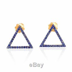 Valentine Gift Sapphire 925 Sterling Silver Triangle Shape Stud Earrings Jewelry