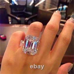 Very Big 70 CT White Emerald Cut Cocktail Party Ring 925 Silver Gift For Women