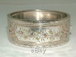 Victorian 2 Tone 9 Carat Gold On Solid Sterling Silver Hinged Bangle Bracelet