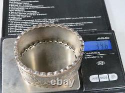 Victorian Etched Sterling Silver Hinged Bangle Bracelet