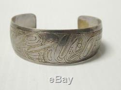 Vintage Alaska Haida Nw Coast Indian Sterling Silver Figural Bracelet A+ Gift