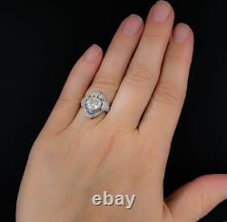 Vintage Art Deco 3.05ct White Heart Cut 925 Silver Wedding Solitaire Ring+gift