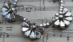 Vintage Art Deco Signed Kramer Diamond Paste Fan Necklace Bridal Jewellery Gift
