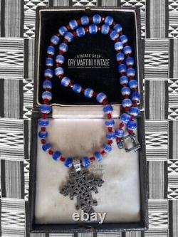 Vintage Art Deco Venetian Chevron Trade Beads African Coptic Cross Necklace Gift
